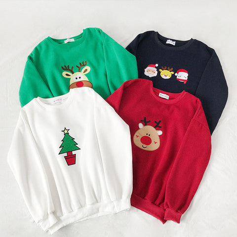 SlogPith CHRISTMAS CARTOON EMBROIDERY SWEATERS