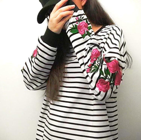STRIPED EMBROIDERED ROSE SWEATERS