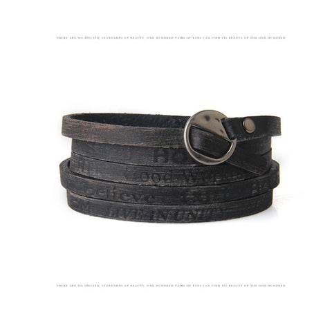 IUYZW RETRO LEATHER LETTER BRACELET