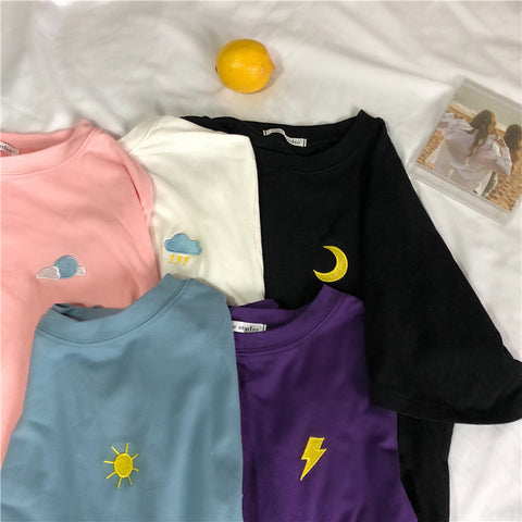 CARTOON WEATHER EMBROIDERY TEES