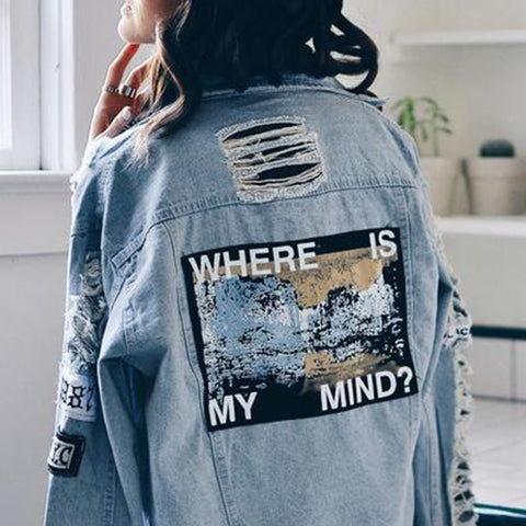 """WHERE IS MY MIND"" HOLE PATCH DENIM JACKETS"