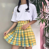 SlogPith RAINBOW GRADIENT PLAID SKIRTS