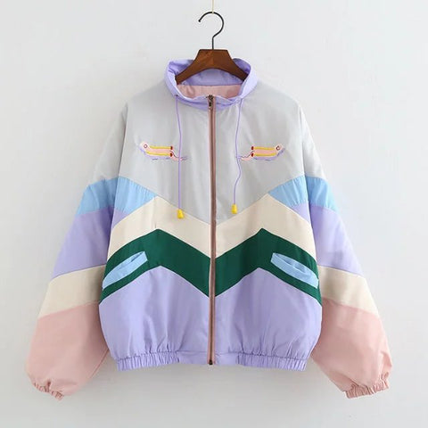 JAPANESE ACADEMY STYLE COLOR MATCHING ENGLISH LETTER EMBROIDERY JACKETS