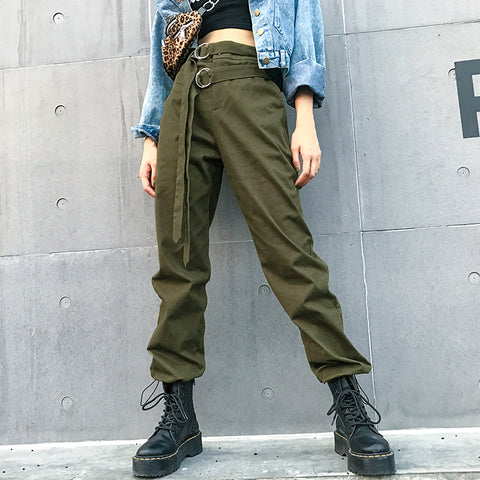 SlogPith HIP HOP STREET STYLE HAREM PANTS(DOUBLE BELTS)