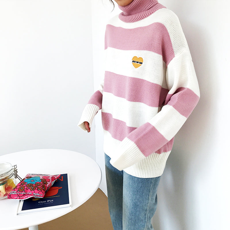 SlogPith STRIPED TURTLENECK HEART SWEATERS