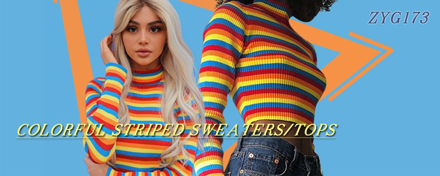 COLORFUL STRIPED SWEATERS/TOPS