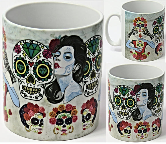 Sugar Skulls Mug, Day of the Dead Bride.