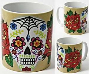 Sugar Skull Mug, Mexican Sugar Skull, Day of the Dead Gift.