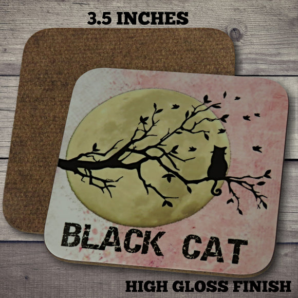 Black Cat Silhouette Coaster.