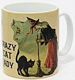 crazy cat lady witch mug