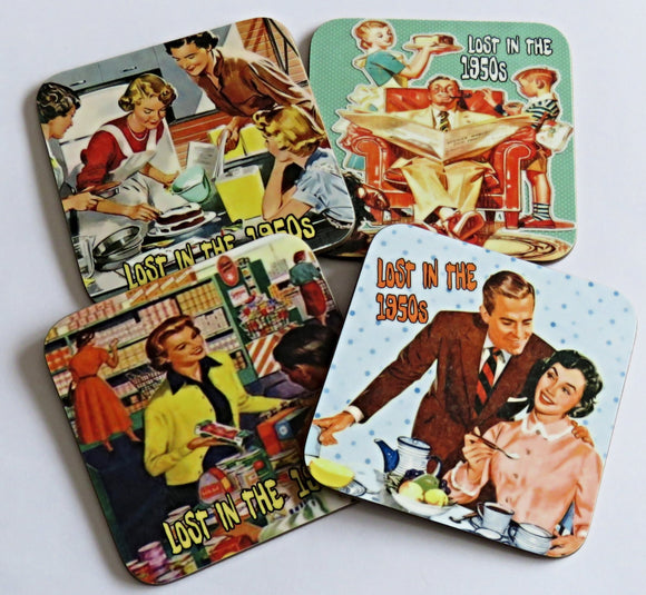 Lost in the 1950's Coaster Set, Set of 4 Coasters.
