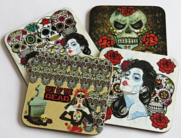 Sugar Skull Coasters, Set of 4 Coasters