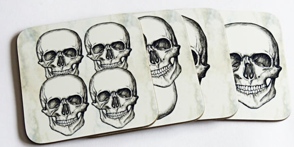 Skull Coaster Set, set of 4 coasters