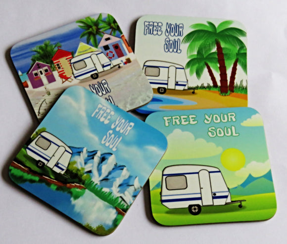 Caravan Coaster Set, Set of 4 Coasters