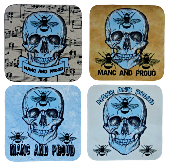 Manc and Proud Coasters, Set of 4 Coasters