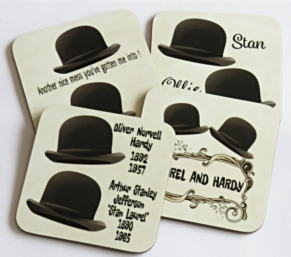 Laurel and Hardy Coaster Set, Set of 4 Coasters.