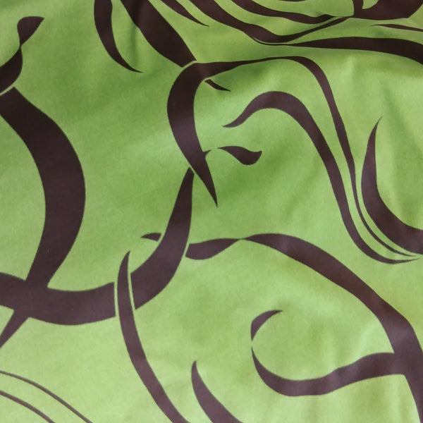 green and brown design fabric
