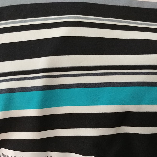 black and teal striped fabric