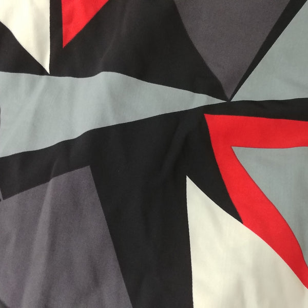 black grey and red  abstract print fabric
