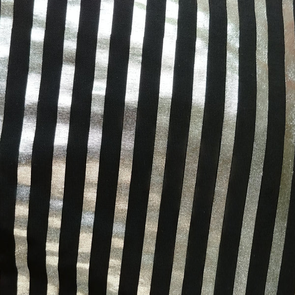 black and silver striped fabric