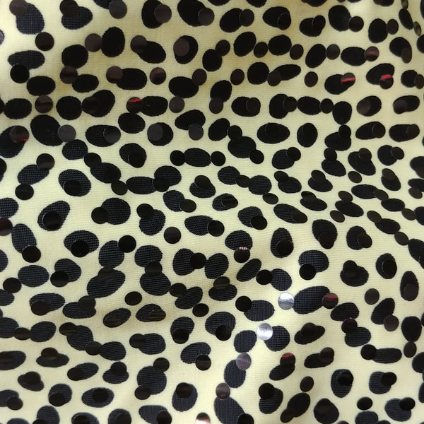 sequin spotted leopard print fabric