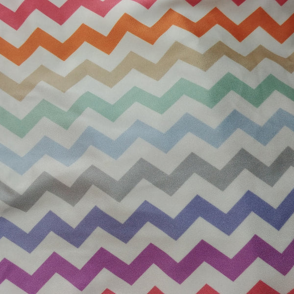 mulit colored chevron striped zig zag fabric