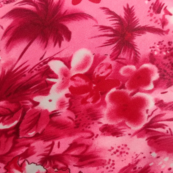 hot pink Hawaiian print fabric