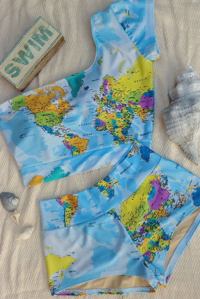 world map swimsuit