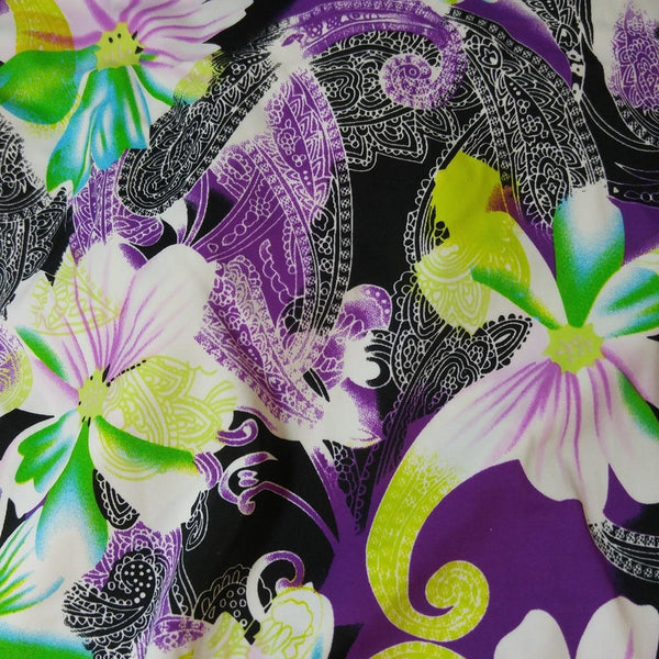 black and purple floral fabric