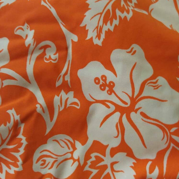 orange and white hibiscus swimsuit fabric