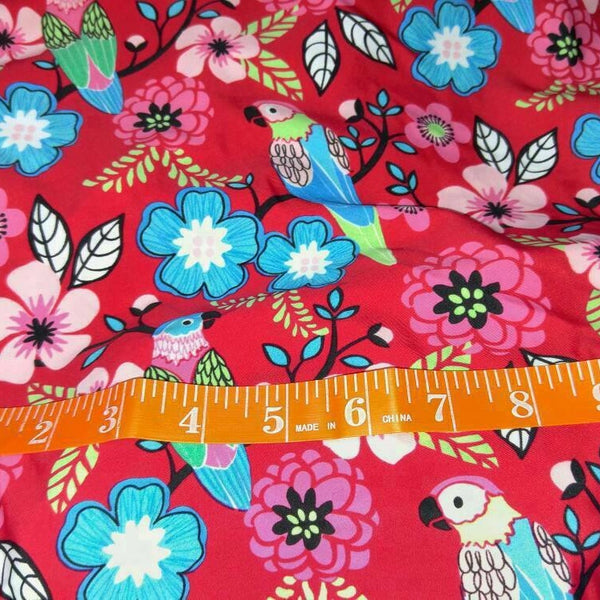 hot pink and teal parrot floral print
