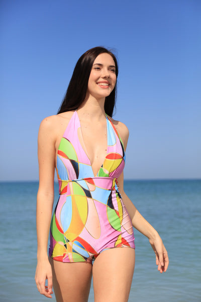 Bombshell Maillot in Art Deco print