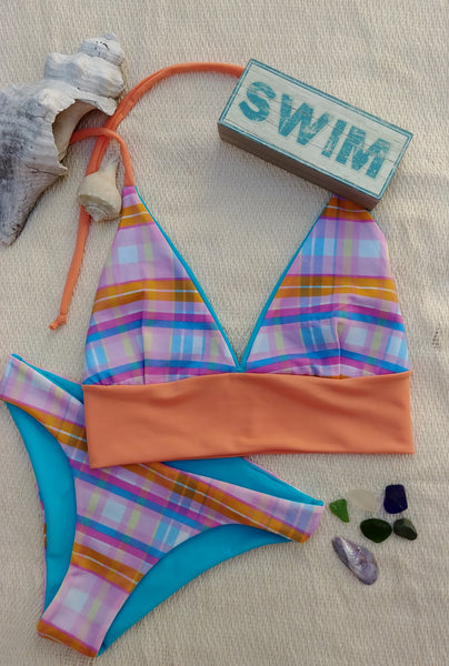 Pink and blue plaid reversible bikini! All sizes.