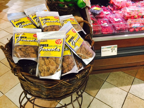 Basket of Power Granola at a natural foods market