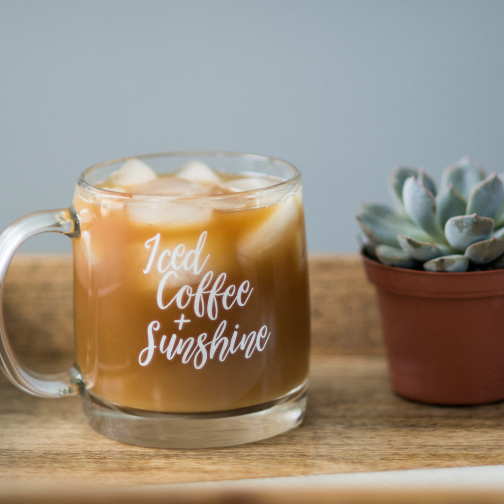 Iced Coffee + Sunshine // Glass Mug - Twelve9 Printing