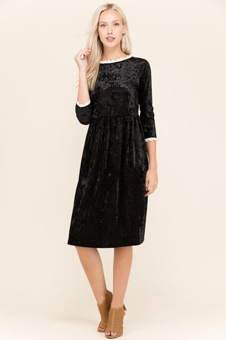 The Little Black Velvet Midi Dress - Twelve9 Printing