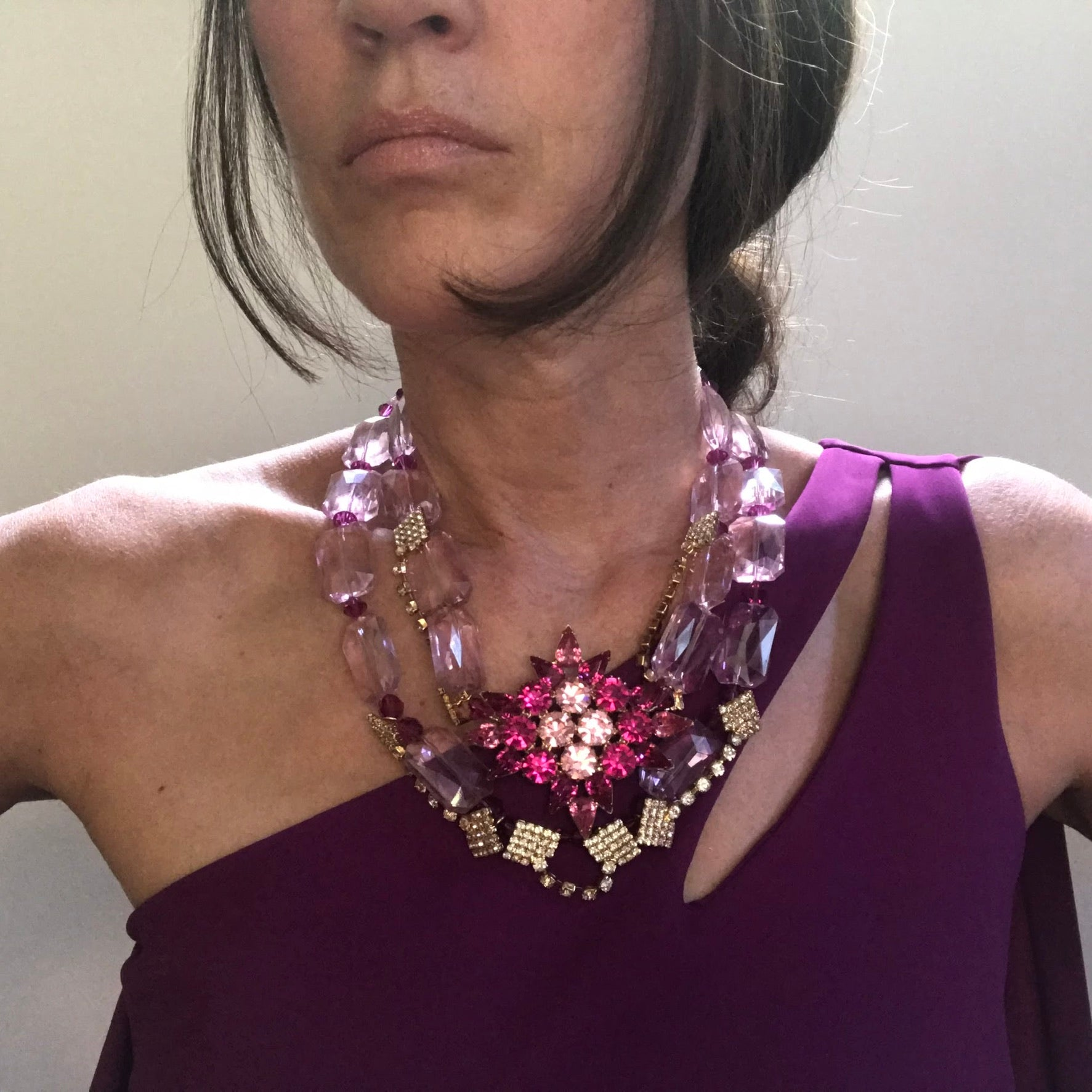 PINK POINTS OOAK STATEMENT NECKLACE