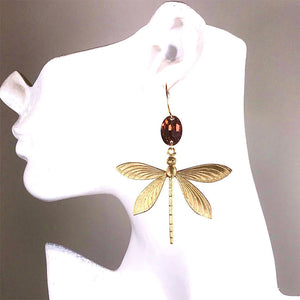 AMBER DRAGONFLY OOAK STATEMENT EARRINGS