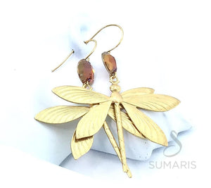 AMBER DRAGONFLY OOAK STATEMENT EARRINGS Earrings