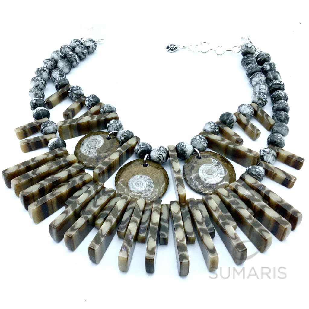 AMMONITE STRIPES OOAK STATEMENT NECKLACE