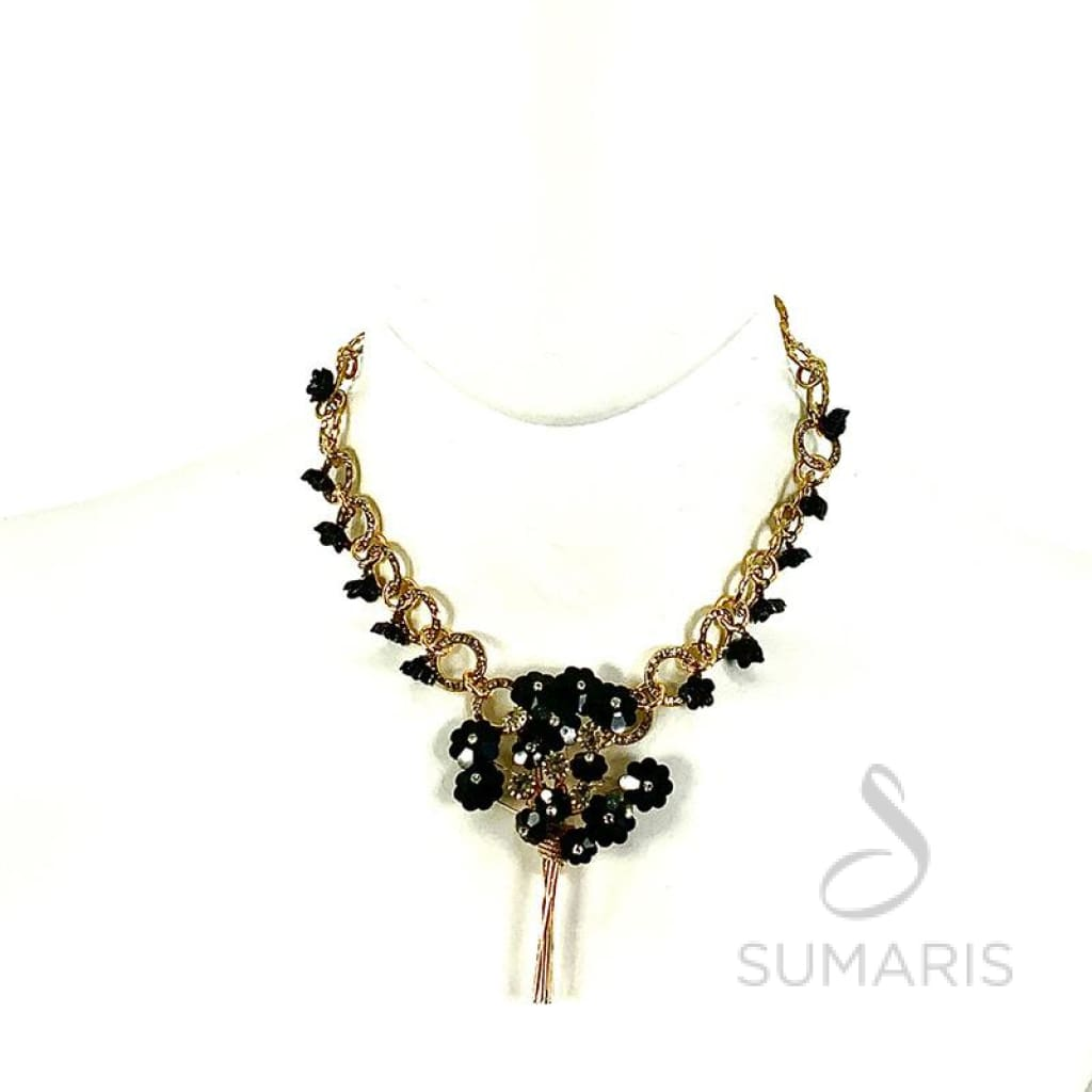 BLACK ROSES OOAK STATEMENT NECKLACE