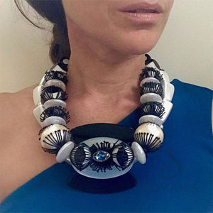 BLUE EYED OOAK STATEMENT NECKLACE