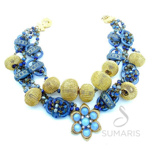 BOUCHER BLUE OOAK STATEMENT NECKLACE