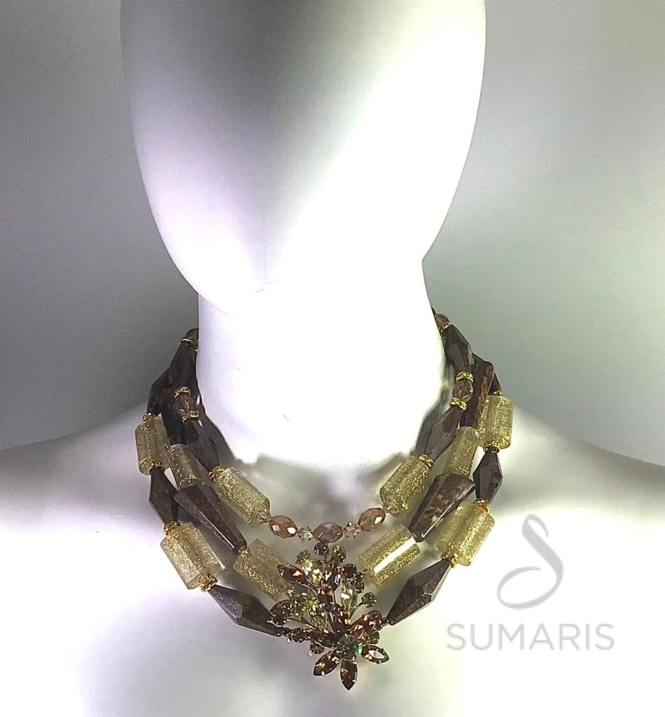 Bronzite Necklace Sumaris Amber / Brown Necklaces Vintage Brooch Women Sumaris Bronzite Bronzite