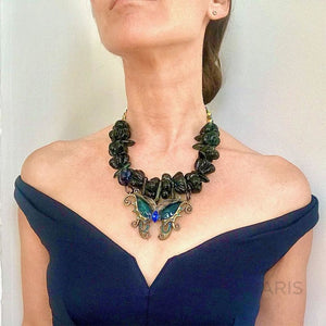 BUTTERFLY BLUES OOAK STATEMENT NECKLACE