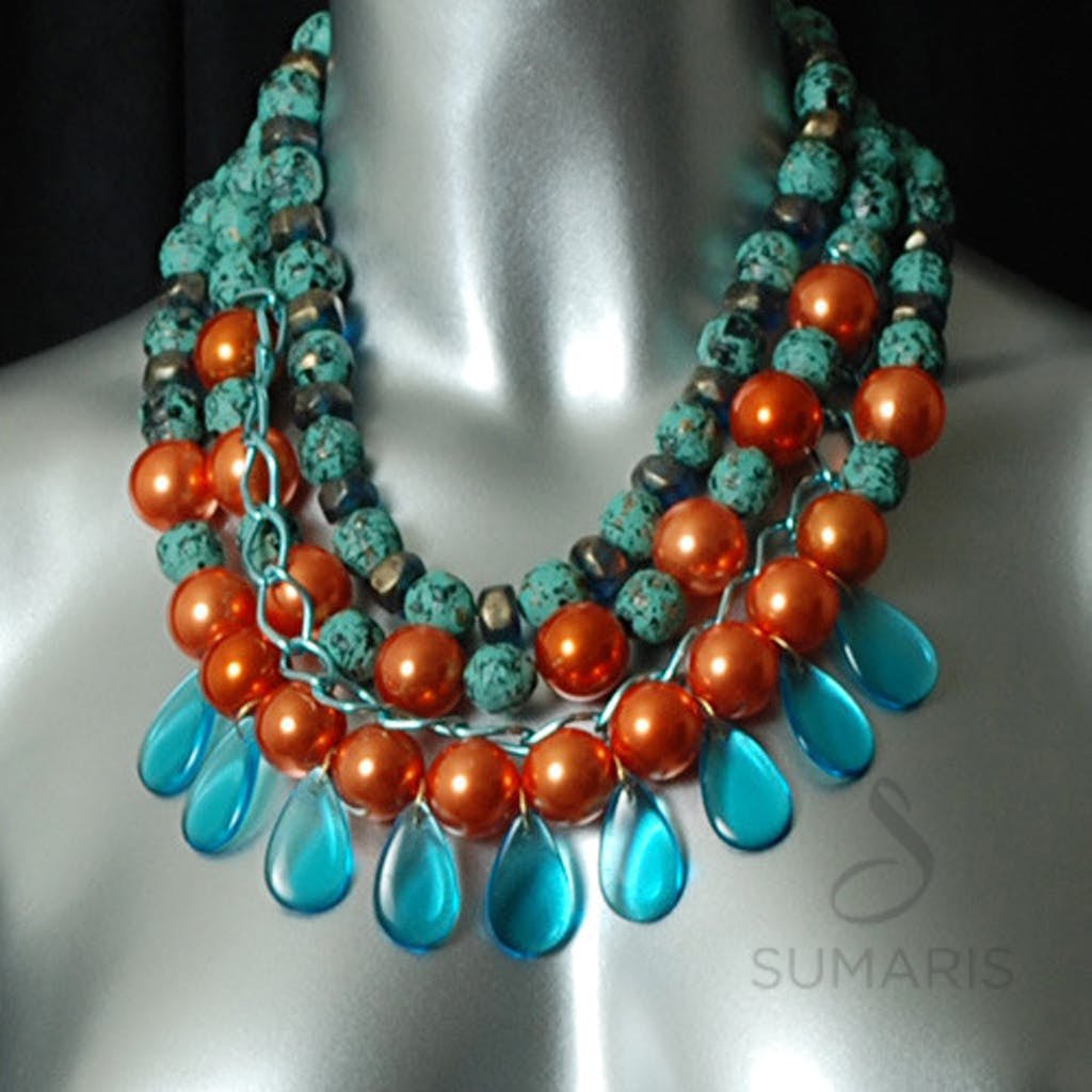 Chained Necklace Sumaris Aqua hidden Necklaces Sumaris Chained Chained