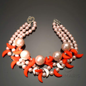 Clawed Necklace Sumaris Necklaces Pink / Peach Red / Orange Women Sumaris Clawed Clawed