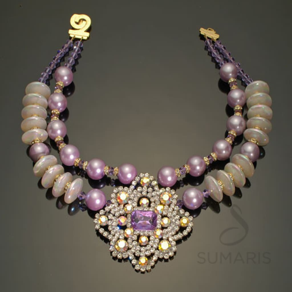 Czarina Necklace Sumaris Necklaces Purple Vintage Brooch Women Sumaris Czarina Czarina