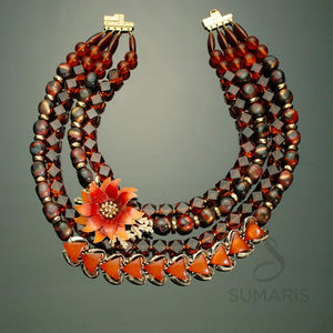 Dahlia Necklace Sumaris Amber / Brown Necklaces Red / Orange Vintage Brooch Women Sumaris Dahlia Dahlia