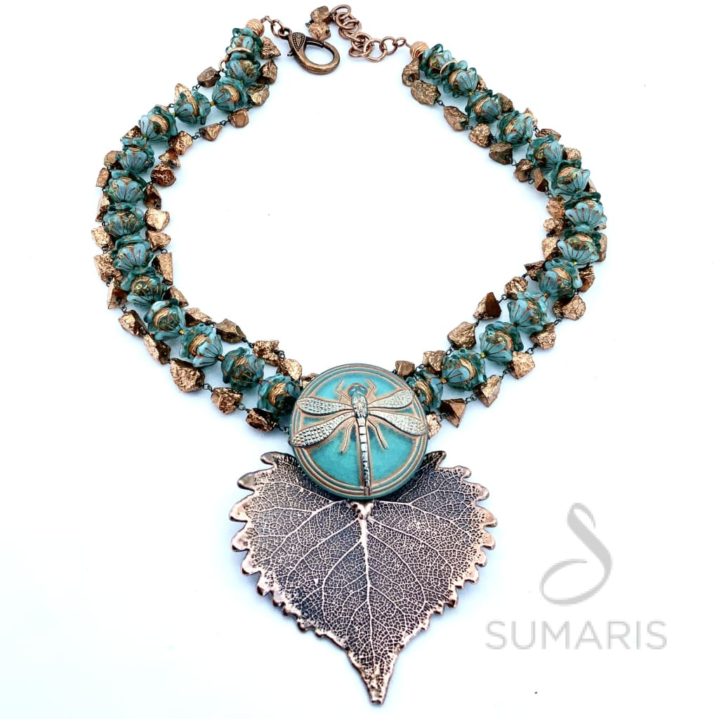 DRAGONFLY BLUES OOAK STATEMENT NECKLACE